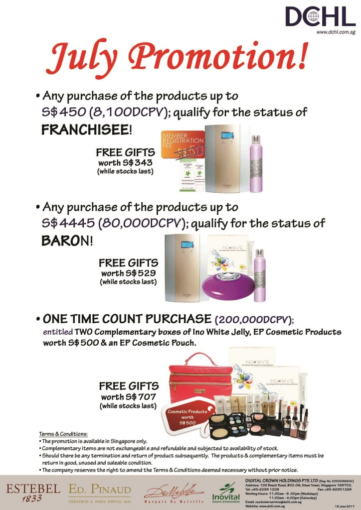 2. July Promotion - Count & Baron, Franchisee Stock