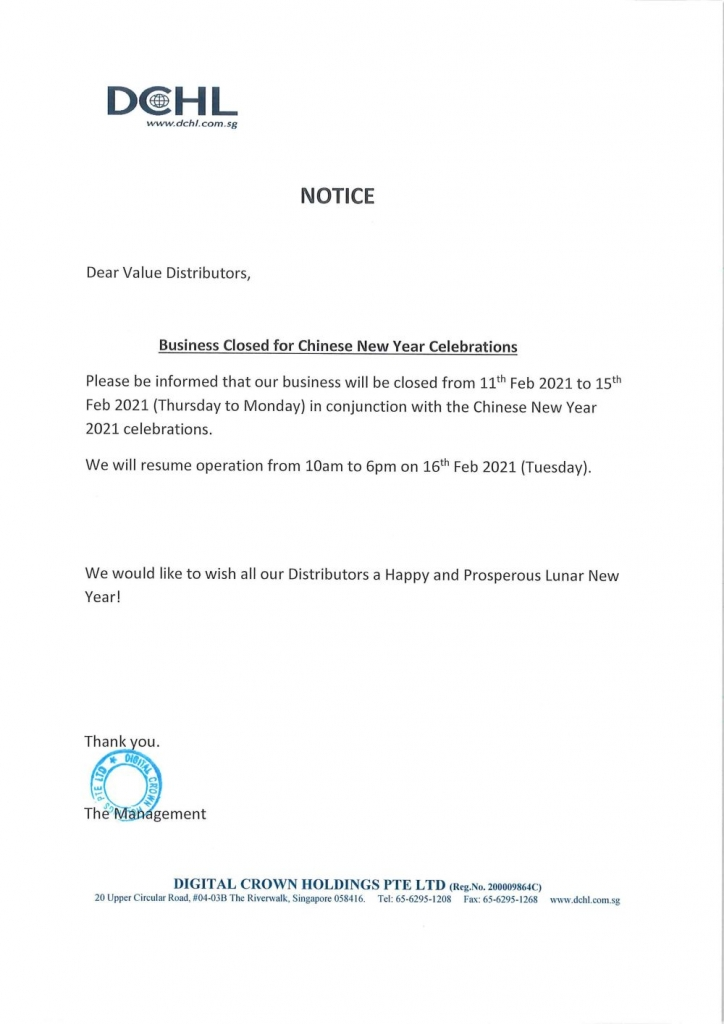 Notice-Business Closed for CNY Celebration