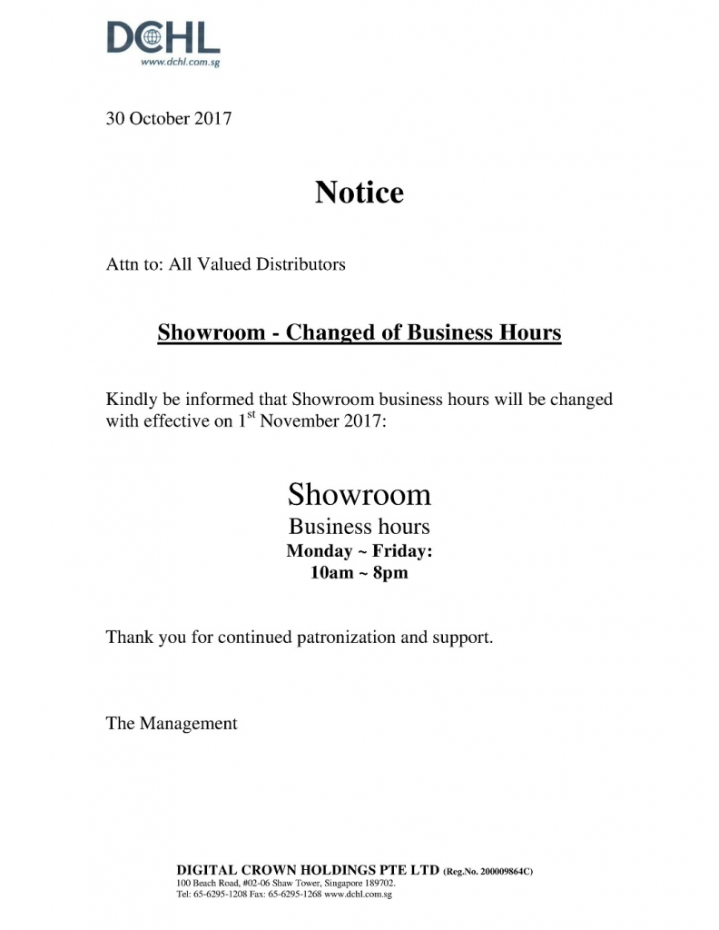 Notice - Change of Business Hours