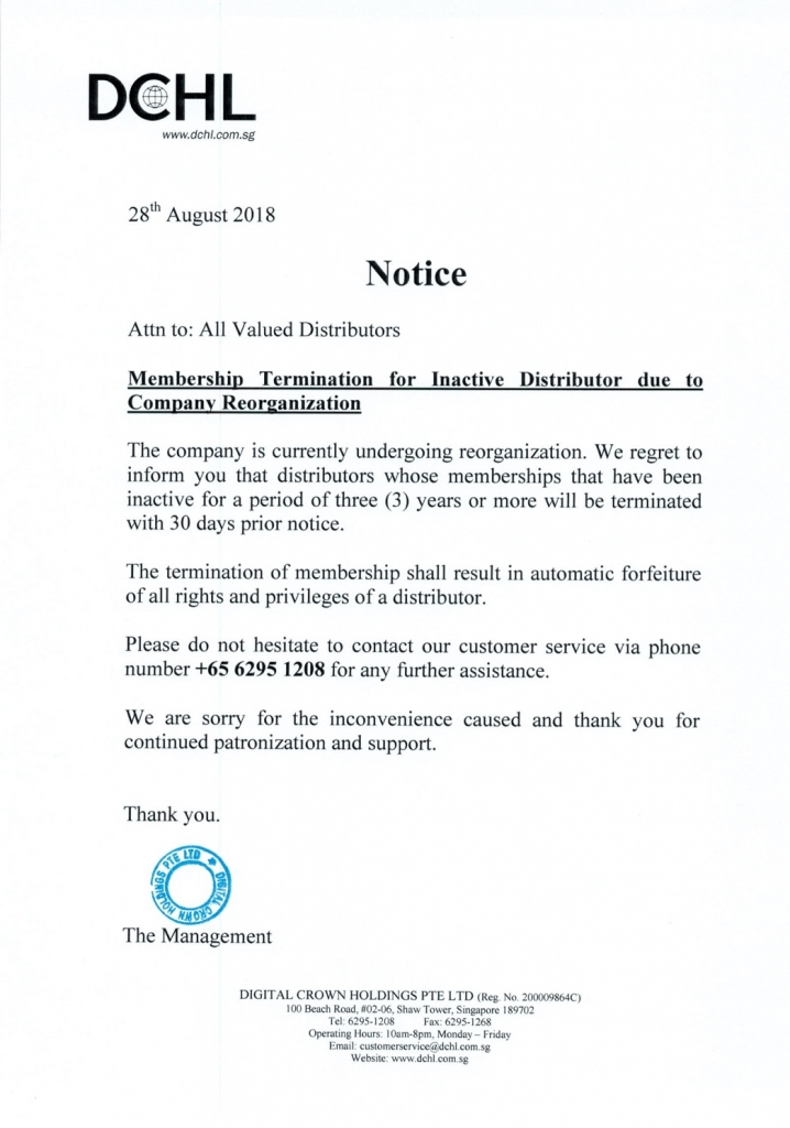 Notice - Membership Termination for Inactive Distributors-1