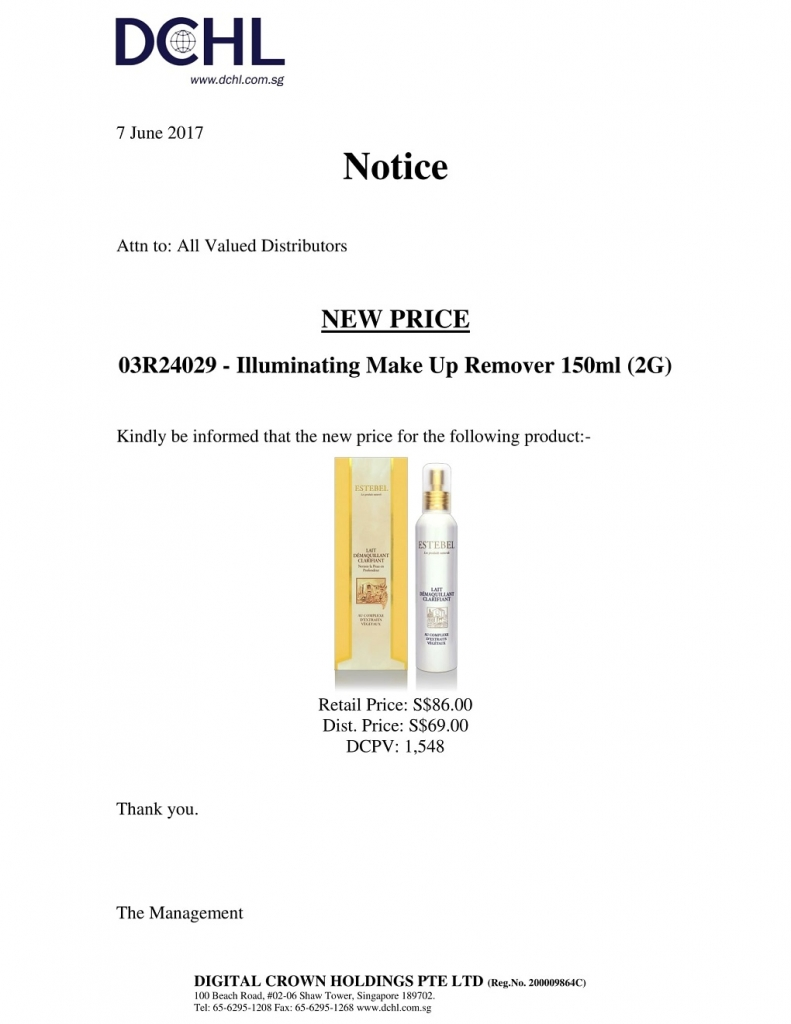 Notice - New Price 03R24029-1