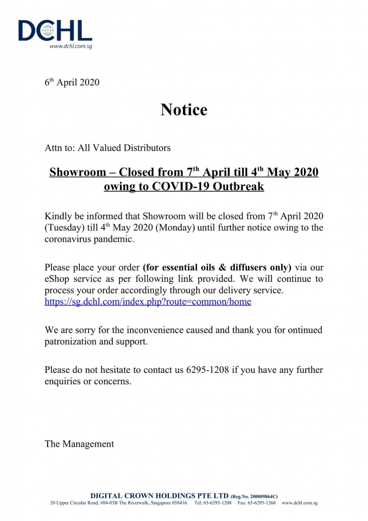 Notice - Showroom Closed from 7th April till 4th May 2020 owing to COVID-19 Outbreak-1