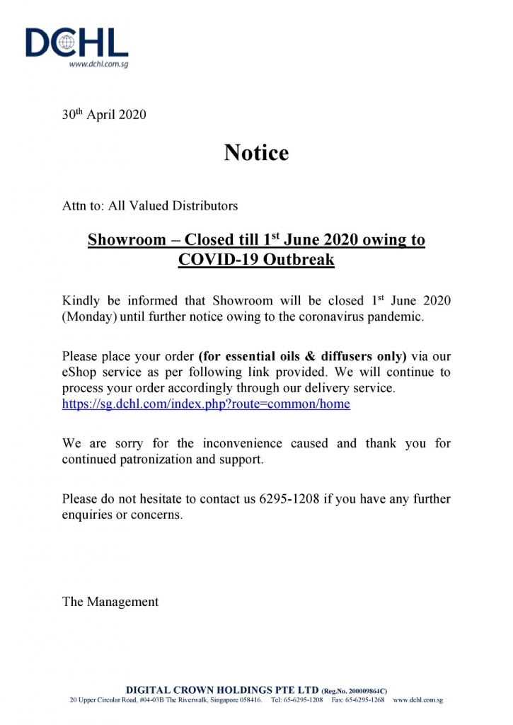 Notice - Showroom Closed till 1st June 2020 owing to COVID-19 Outbreak-page-001