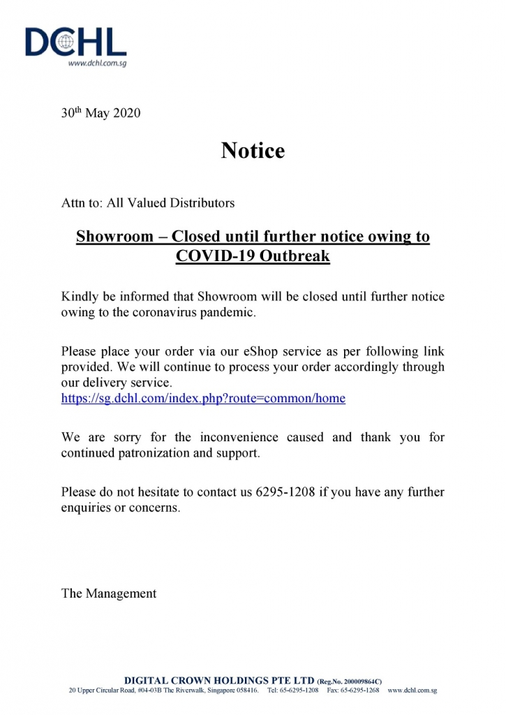 Notice - Showroom Closed until further notice owing to COVID-19 Outbreak-page-001